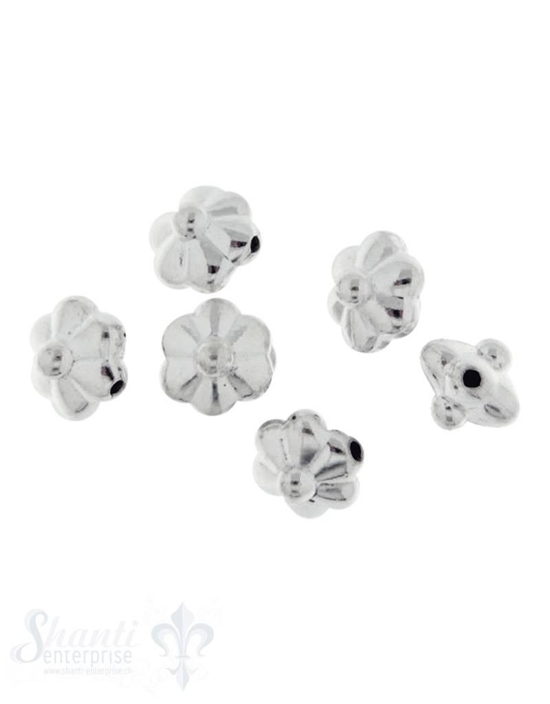 Zwischenteil Silber flach Blume 6-blättrig 7 mm ID 0,5 mm 1 Pack = 6 Stk. ca. 5 gr.