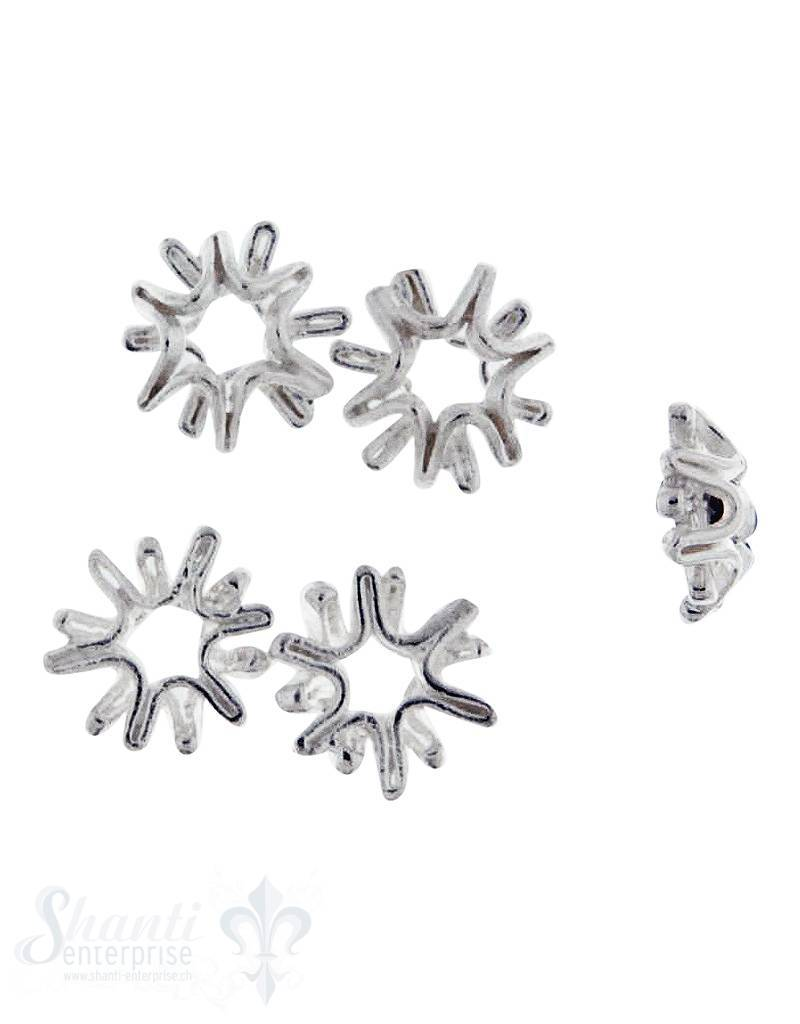 Zwischenteil Silber flach Stern Natural doppelt matt 10 mm 1 Pack = 5 Stk.ca. 5 gr.