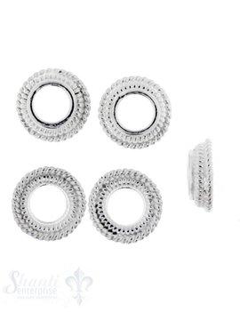 Perlkappe SilberSchnur verziert 10 mm Loch ID 4,5 mm 1 Pack = 5 Stk. ca 5 gr. für 10 mm Perlen