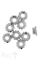 Perlkappe Silber Blume flache Tupfen 7 mm Loch ID 2,1 mm 1 Pack = ca. 14 Stk. ca 5 gr. für 6-7 mm Perlen