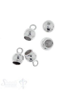 Lederkappe Silber rund 6.5 mm poliert ID 3,8 mm mit fixer Öse Loch 2 mm 1Pack = 5 Stk. ca. 5 gr,