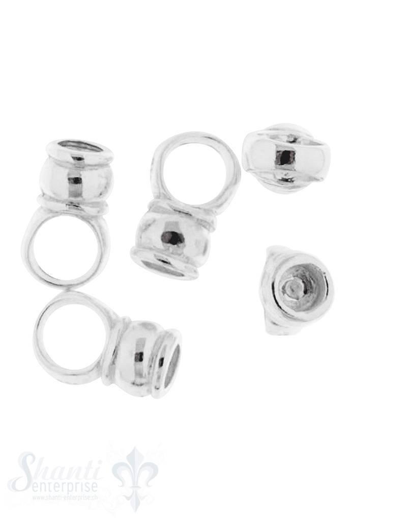 Lederkappe Silber 5,5 mm poliert ID 3 mm mit fixergrosser Öse Loch 4,5 mm 1Pack = 8 Stk. ca. 6 gr,