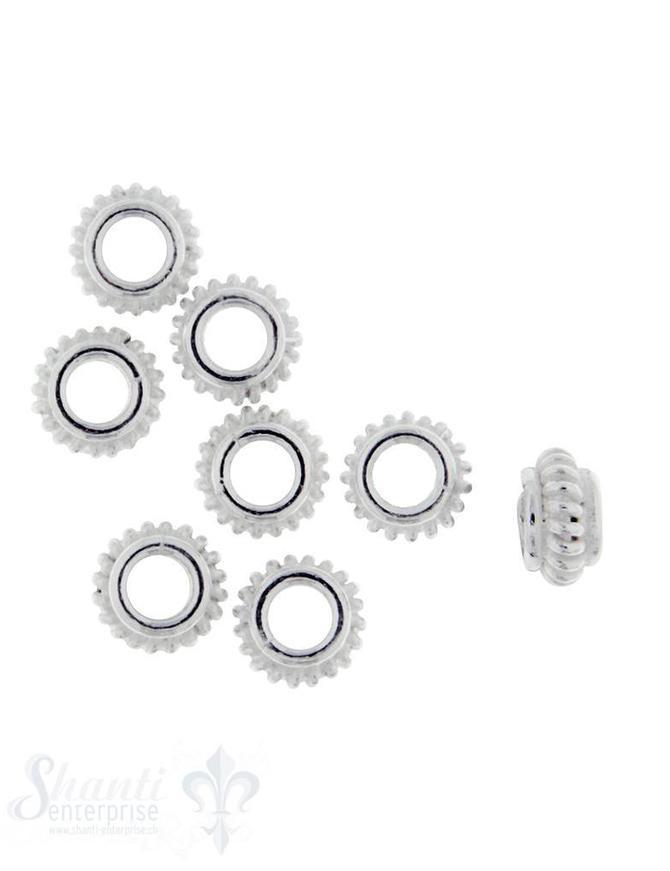 Grosslochperlen Silber flach mit Rillen 7 mm ID 3 mm 1 Pack = 8 Stk. ca. 5 gr.