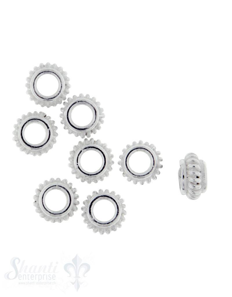 Lederzwischenteil Silber flach mit Rillen 7 mm ID 3 mm 1 Pack = 8 Stk. ca. 5 gr.