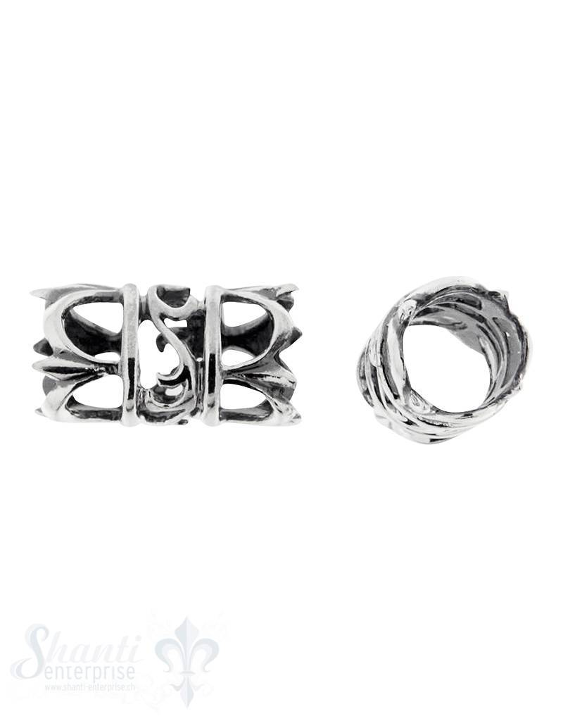 Lederzwischenteil Silber Rohr 9x17 mm durchbrochen ID 7 mm  geschwärzt 1 Pack = 2 Stk. ca. 4 gr.