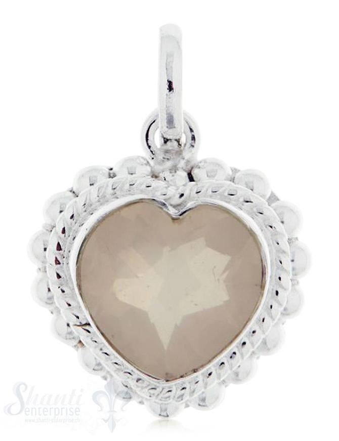 Anhänger Silber hell mit Herz Schnur-/ und Tupfenverzierung mit Öse