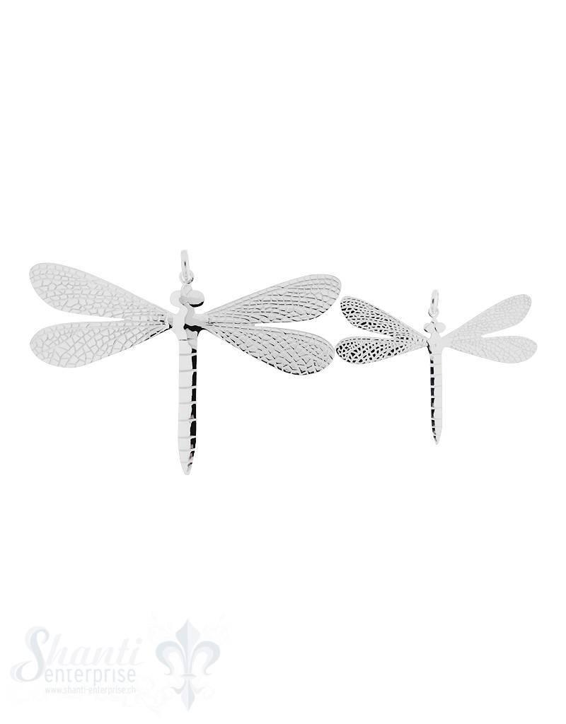 Silbertier: Libelle flach einseitig verziert