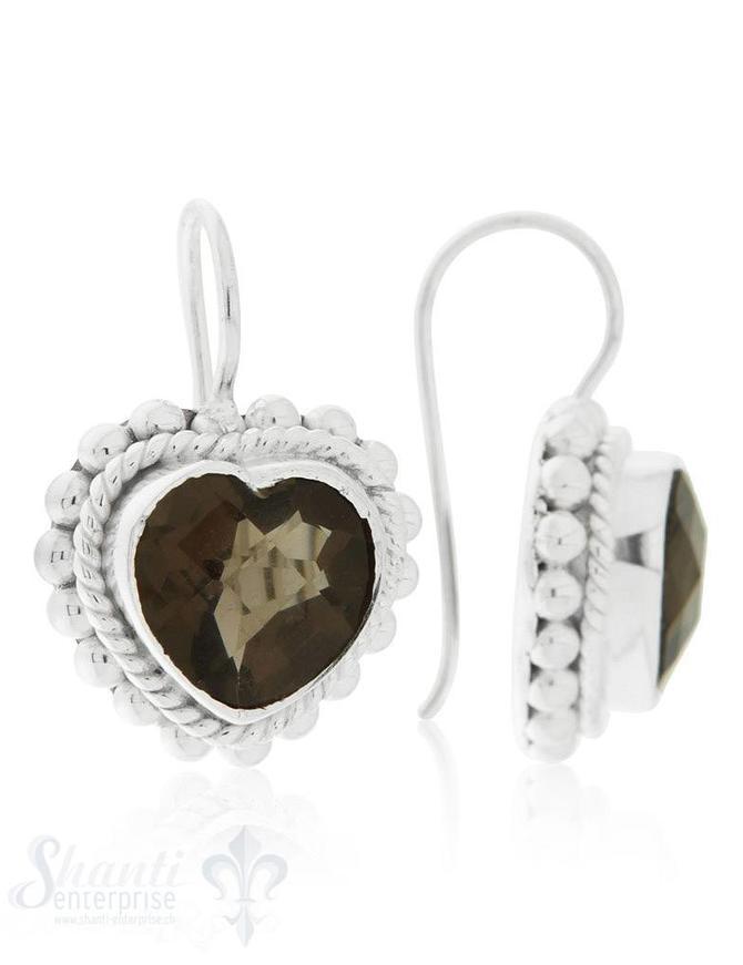 Ohrhänger Silber hell Schnur- und Tupfenverzierung mit Bügel