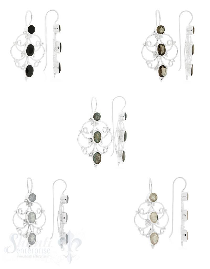 Ohrhänger Silber Tropfenmuster filigran mit 3 Steinen 23x38 mm