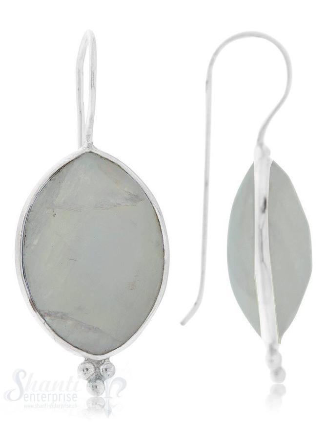 Ohrhänger Silber Marquise facett. 16x28 mm mit 3 Punkten mit Bügel fix
