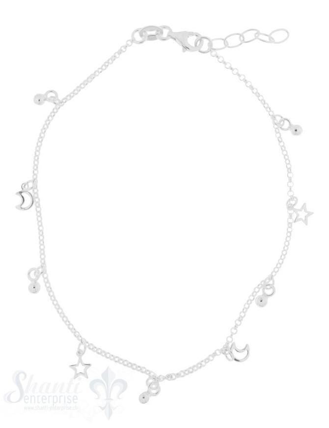 Fussketteli fein mit 9 Charms:sky Sternli Mond Federringschloss 22,5-25,5 cm Grössen verstellbar