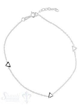 Fussketteli fein mt 3 offenen Dreiecken Federringschloss 22,5-25,5 cm Grössen verstellbar