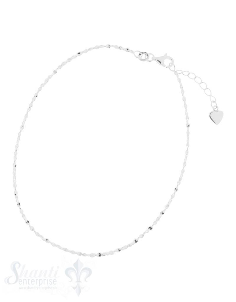 Fussketteli fein mit glitzernder Fantasikette fein Federringschloss 22,5-25,5 cm Grössen verstellbar