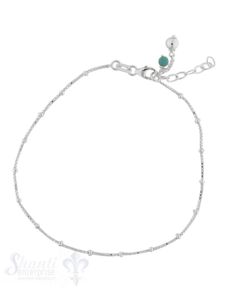Fussketteli Silber Venezianer  22,5-25 cm mit Anhängerli Stein/Silber Grössen verstellbar