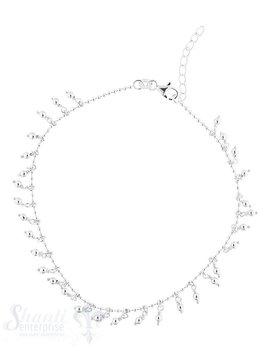 Fussketteli Silber Kugel 1.5 mm 26 auf 23 cm verst tellbar mit Tropfenanhönger Silber