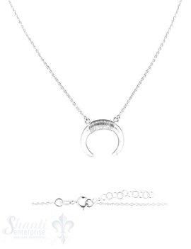 Halskette Silber 42-45 cm mit Stierhörner oben mit Draht umwickelt, Grössen verstellbar Federringschloss