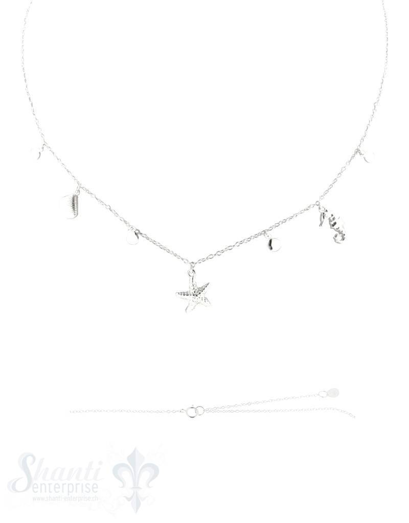 Silberkette Anker mit Meerestieren 40-45 cm Grössen verstellbar (Seestern,Muschel,Seepferd) Federringschloss