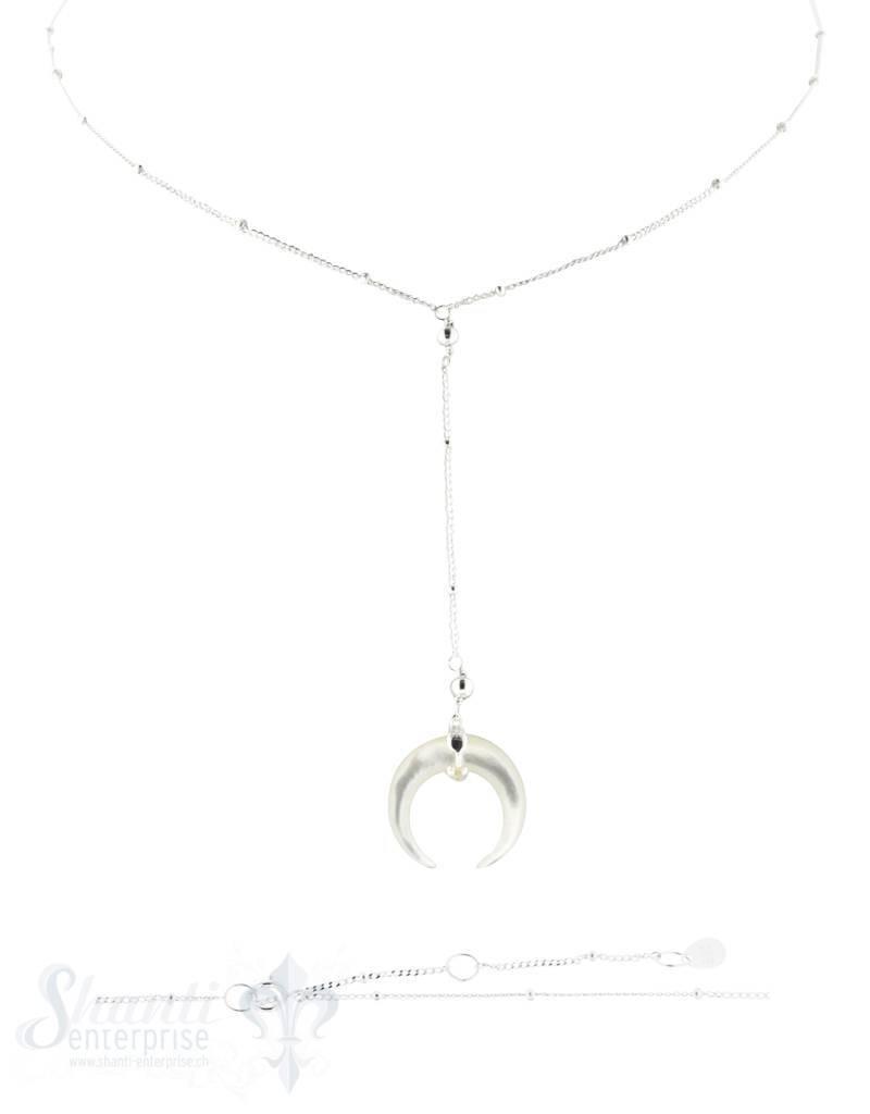 Silberkette Ypsilon Fantasie mit Perlmutt Stier- Hörner 40+45 cm Grössen verstellbar Federringschloss