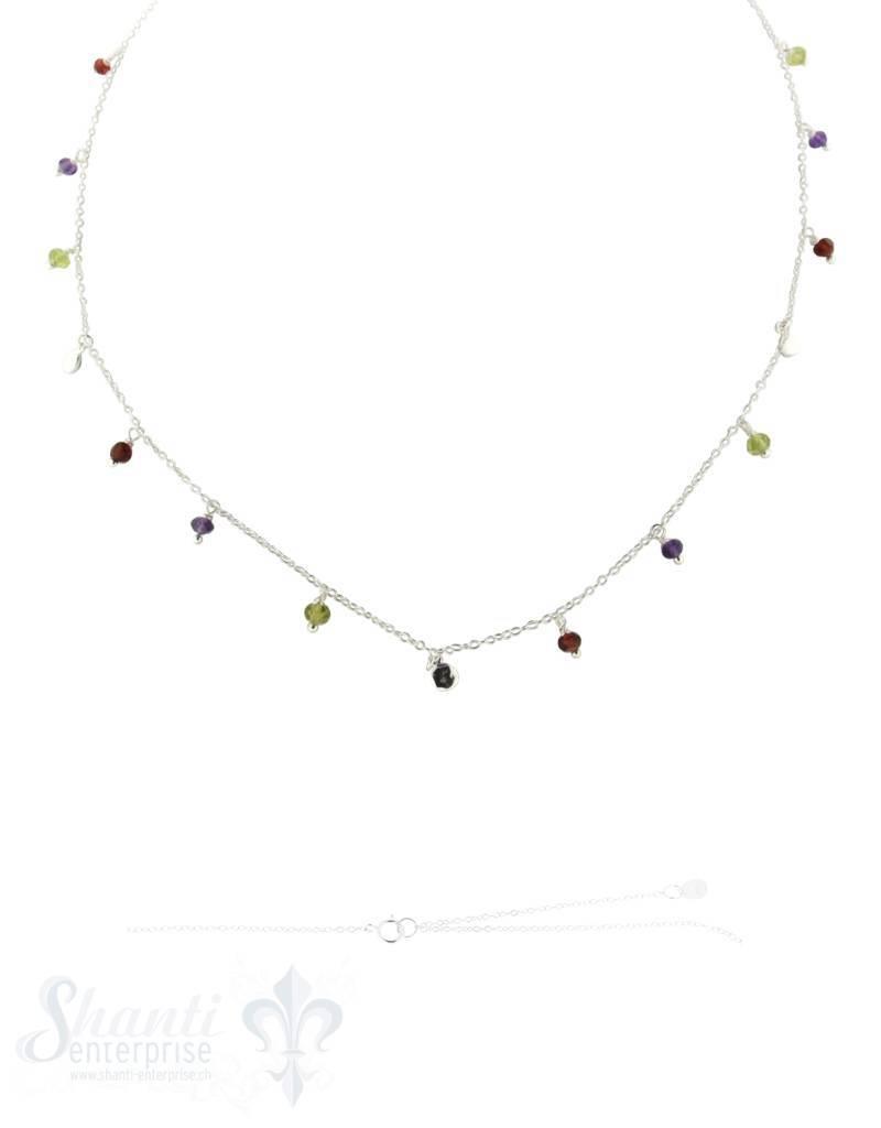 Silberkette Anker multicolor Zirkon-Anhängerli 40+45 cm Grössen verstellbar Federringschloss