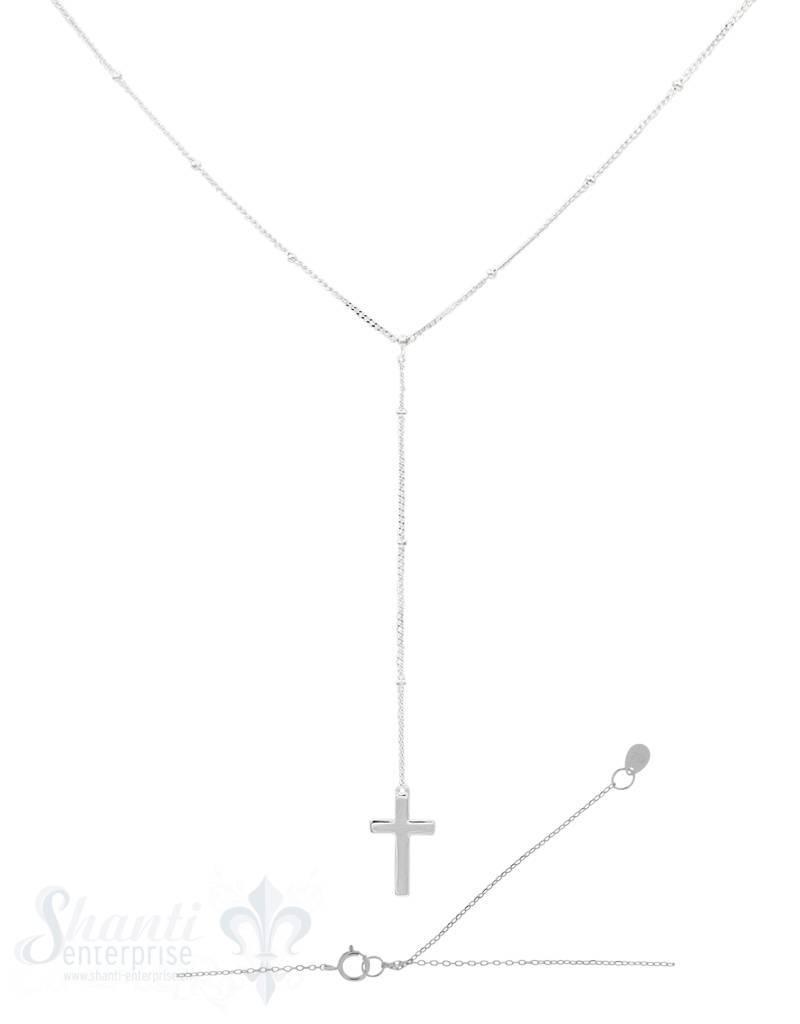Silberkette Ypsilon Anker mit Kreuz 40+45 cm Grössen verstellbar Federringschloss