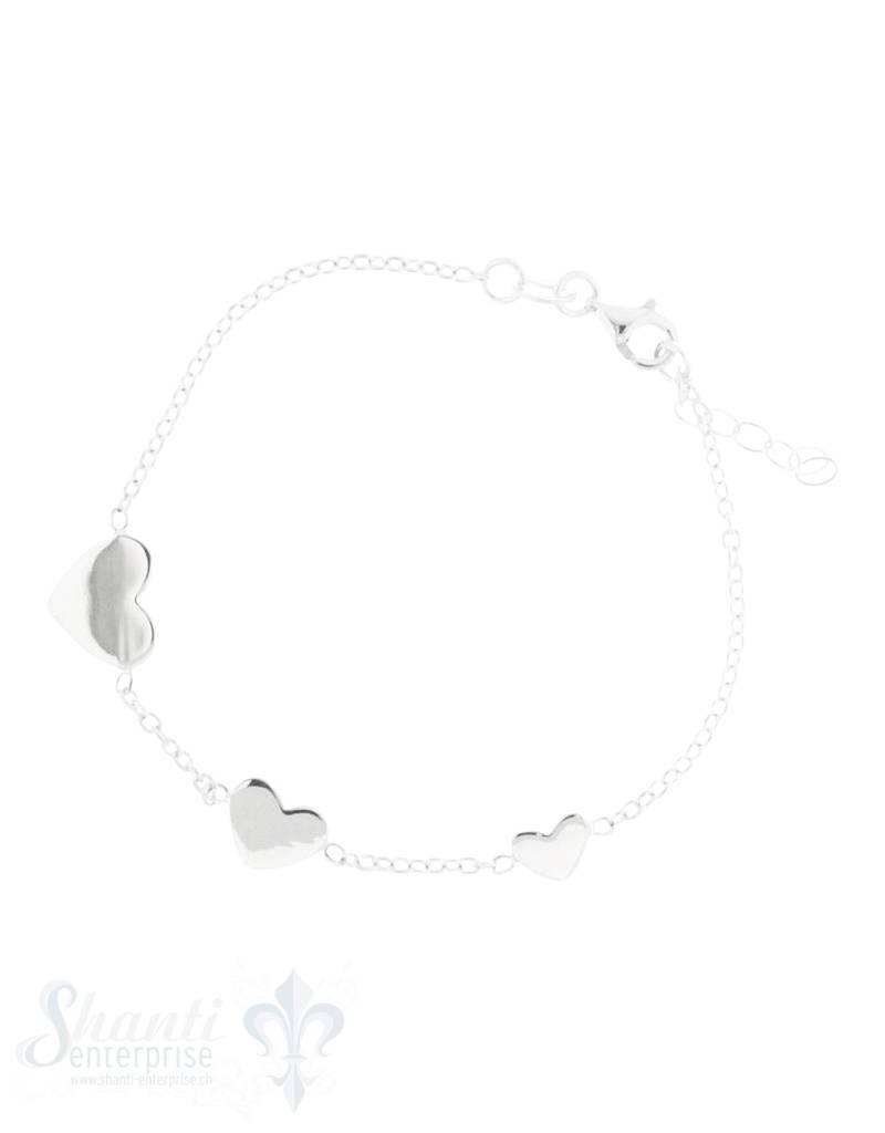 Armkette Silber Anker mit Herz 3 div. Grössen in der Mitte Karabiner 17/19 cm Grössen verstellbar