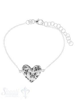 Armkette Silber Anker 15-18,5 cm mit Herz flach geschwärzte Schmetterling Karabiner Grössen verstellbar