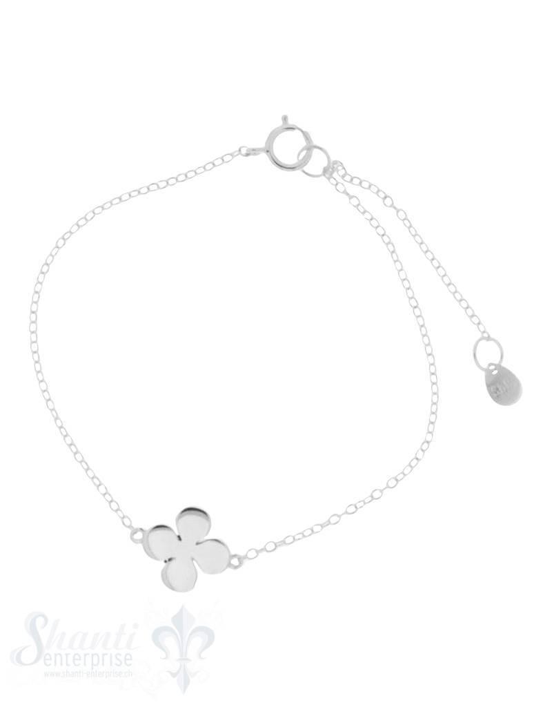 Silberarmkette Anker Glücks-Kleeblatt Anhänger 14 + 17,5 cm Grössen verstellbar Federringschloss