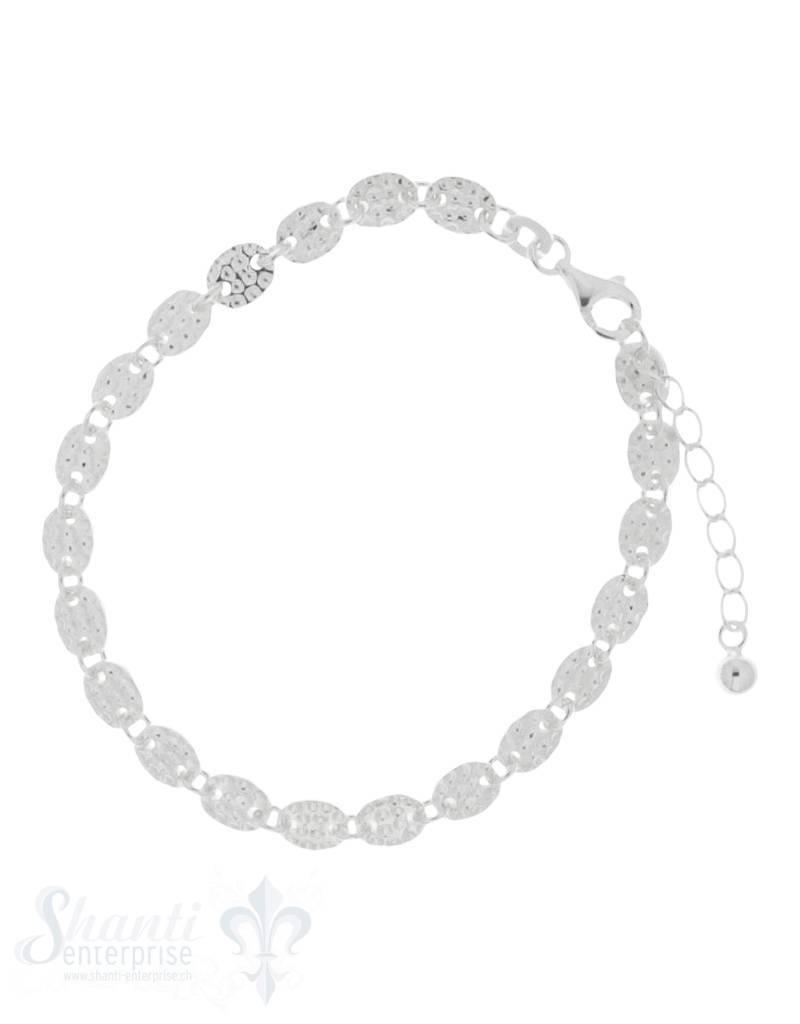 Armkette Silber Zwischenteil Oval gehämmert 7x5mm Grössen verstellbar 16,5 bis 19 cm