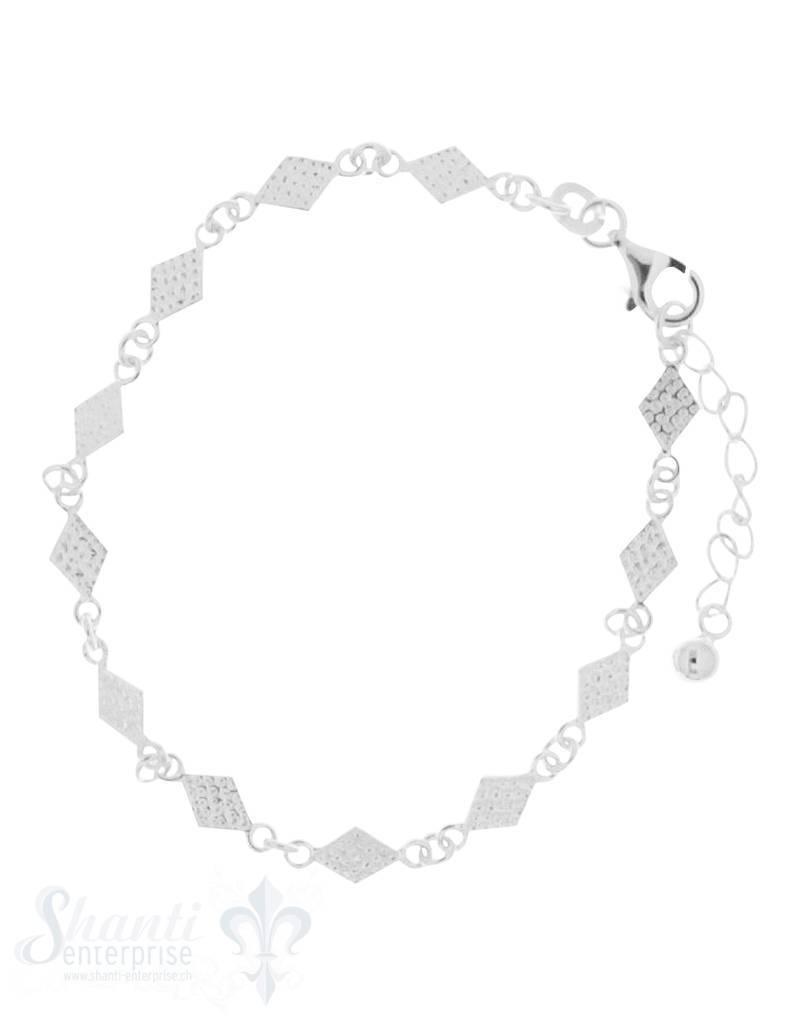 Armkette Silber Zwischenteil Rhombus gehämmert 7x5 mm Grössen verstellbar 16,5 bis 19,5 cm