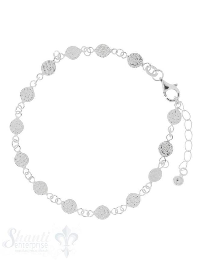 Armkette Silber Zwischenteil rund gehämmert 5 mm Grössen verstellbar 16,5 bis 19,5 cm