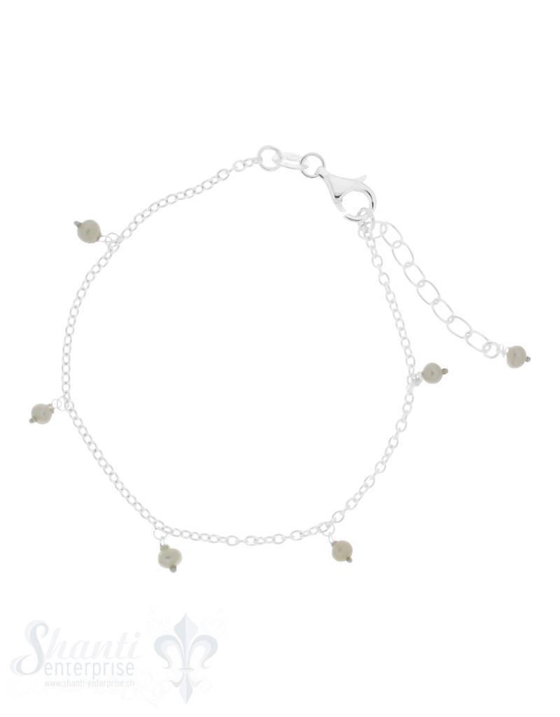 Silberarmkette Anker 17-20 cm mit kleinen Perlen Anhänger Karabiner