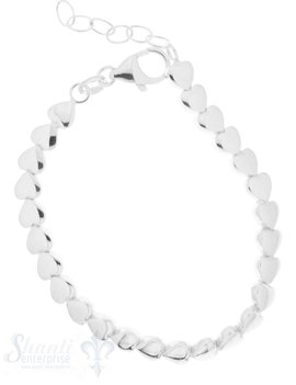 Silberarmkette Herzli 6 mm quer aufgereiht:15-17,5 cm poliert