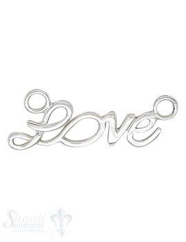 Silberteil mit Doppelösen Love 34x13 mm Dicke: 1.4mm