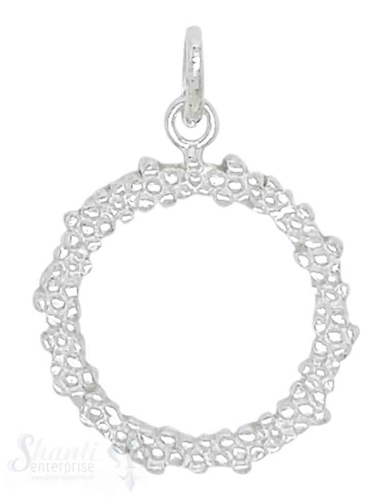 Silberanhänger Kreis 3 mm 20 cm gross Rand getupft mit Öse  20 mm