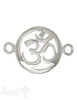 Silberteil mit Doppelösen Amulett Om 26x18 durchbrochen