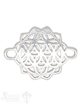 Silberteil mit Doppelösen Blume des Lebens r 24x17 mm 70 mm