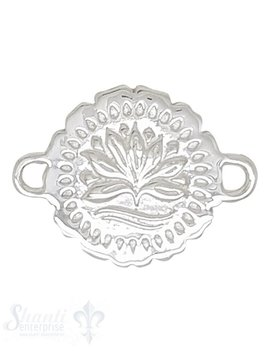 Silberteil mit Doppelösen rund mit Lotusblume beidseitig 24x18mm 70 mm