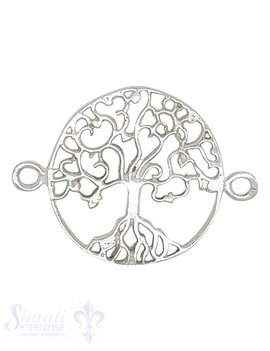 Silberteil mit Doppelösen rund Baum des Lebens 26x20 mm durchbrochen