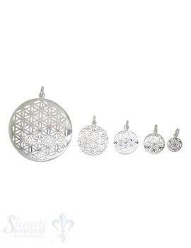 Anhänger Silber Amulett Blume des Lebens rund mit Öse
