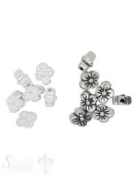 Zwischenteil Silber flach Blume 4-blättrig 7x6 mm Loch 0.7 mm 1 Pack = 10 Stk. ca. 6 gr.
