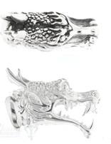 Lederkappe Silber Drachenkopf geöffnetes Maul 13x32 mm  ID 10mm
