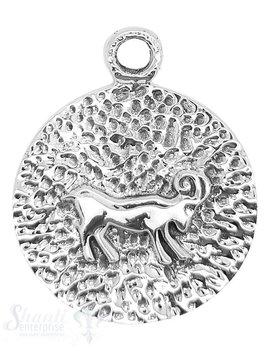 Silbertier Steinbock auf Medaillon mit Öse fix 37
