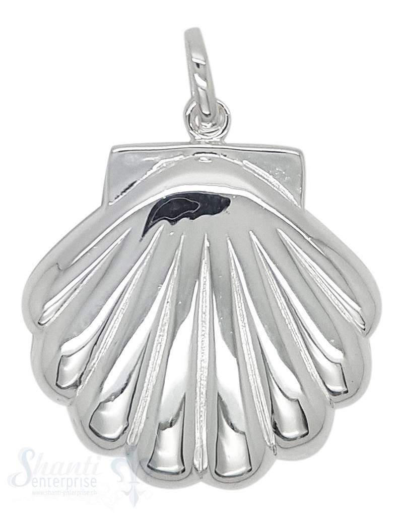 Silbertier: Muschel poliert flach mit Öse 30x35 mmmm