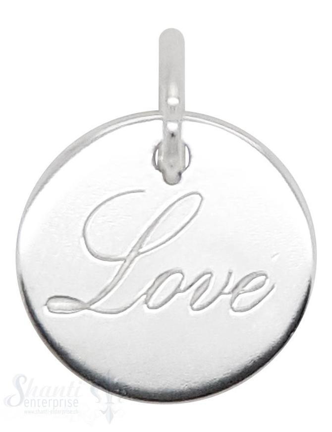 Anhänger Silber Plaquette poliert 16 mm Love Schrift hell eingraviert mit Öse