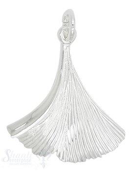 Silberanhänger Ginkoblatt mit Struktur poliert mit Öse  32x28 mm