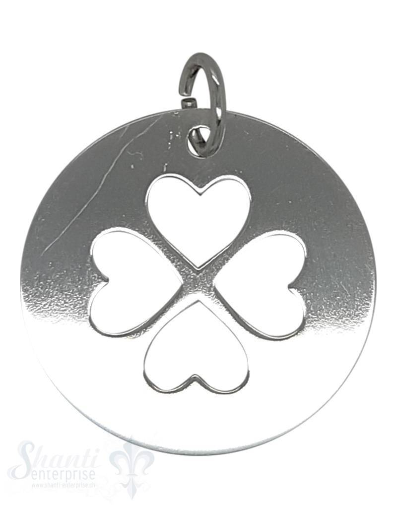 Silberanhänger Plaquette mit Herz als Glücks- Kleeblatt eingestanzt  poliert 25 mm