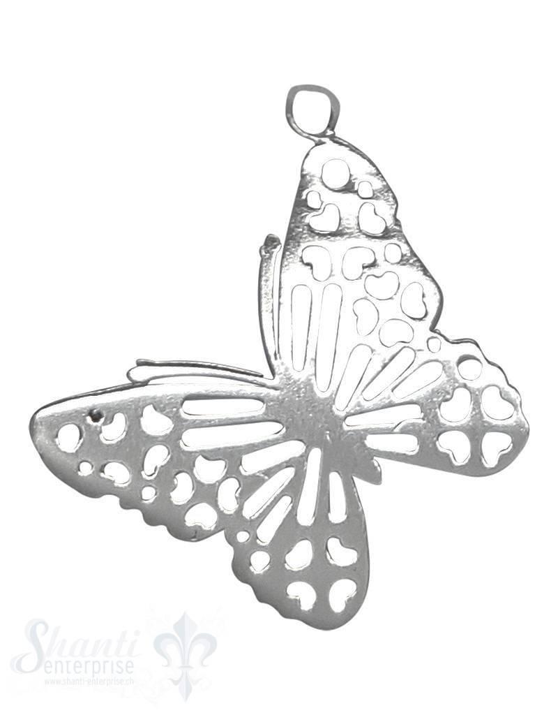Silbertier Schmetterling fein poliert 17x22 mm Öse am Flügel