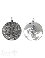 Anhänger Silber Amulett geschwärzt Sternzeichen 39mm mit Öse oval Hinten keltisches Kreuz