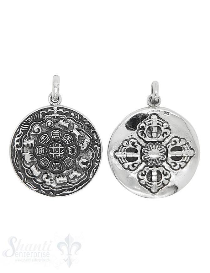 Anhänger Silber Amulett geschwärzt Sternzeichen chinesisch 30 mm mit Öse oval Hinten keltisches Kreuz