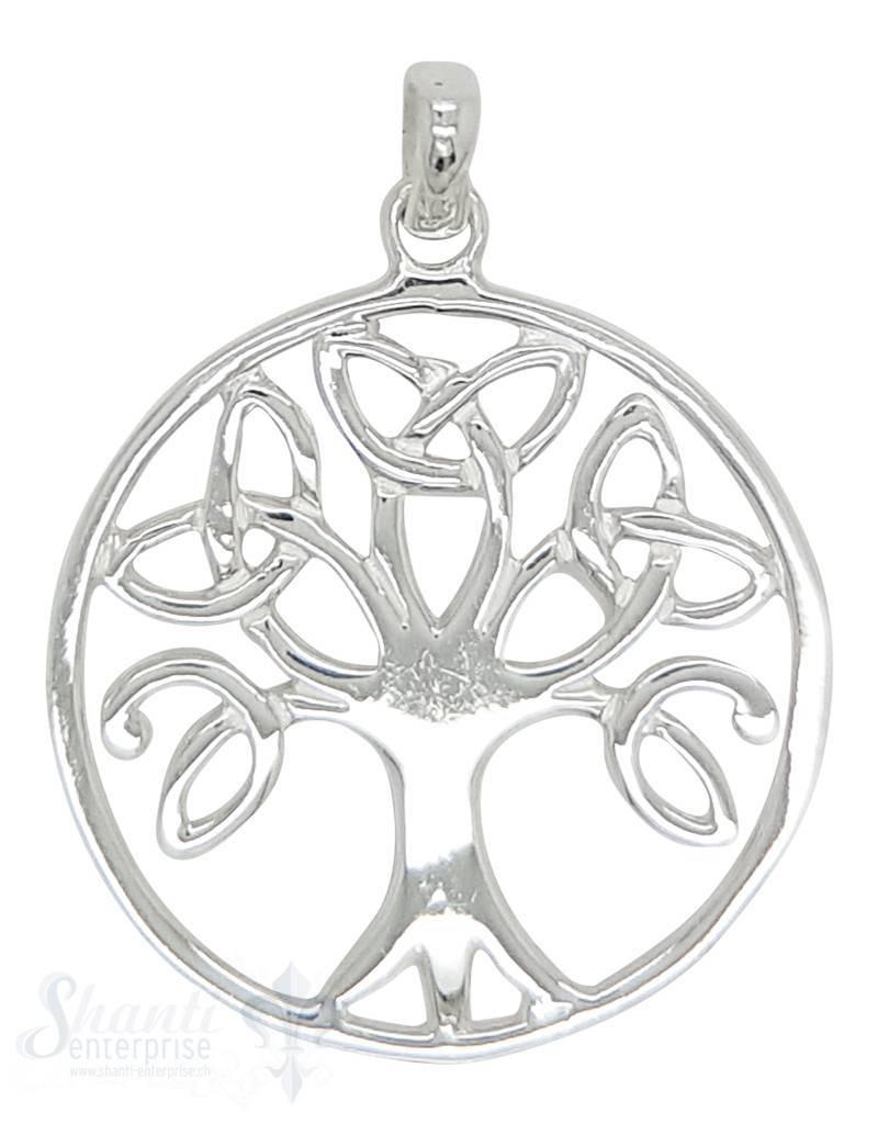 Silberanhänger Baum des Lebens keltisch rund durchbrochen mit Ose 26mm